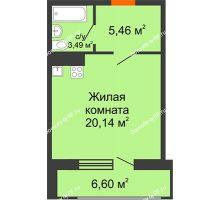 Студия 32,39 м² в МКР Родные просторы, дом Литер 7 - планировка