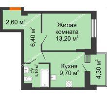 1 комнатная квартира 38,2 м² в ЖК Династия, дом Литер 2 - планировка