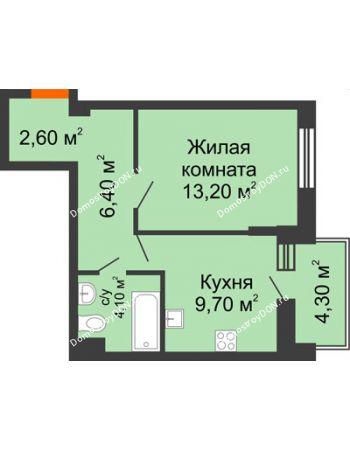 1 комнатная квартира 38,2 м² в ЖК Династия, дом Литер 2