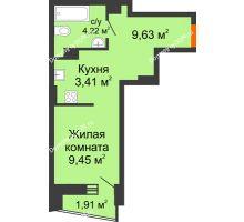Студия 27,22 м² в ЖК Рубин, дом Литер 3 - планировка