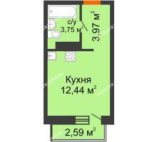 Студия 20,94 м², ЖК Зеленый берег Life - планировка