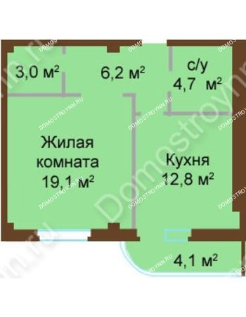 1 комнатная квартира 49,9 м² - ЖК Бояр Палас