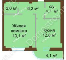 1 комнатная квартира 49,9 м², ЖК Бояр Палас - планировка