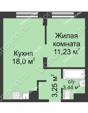 1 комнатная квартира 35,92 м² - ЖК Университетский