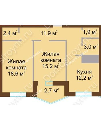 2 комнатная квартира 67,9 м² в ЖК Монолит, дом № 89, корп. 1, 2
