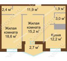 2 комнатная квартира 67,9 м² в ЖК Монолит, дом № 89, корп. 1, 2 - планировка