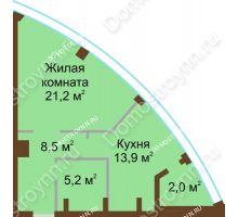 1 комнатная квартира 50,8 м² в ЖК Монолит, дом № 89, корп. 1, 2 - планировка