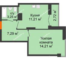 1 комнатная квартира 38,68 м² в ЖК Рассвет, дом № 8 - планировка