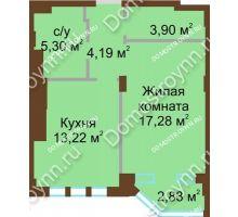 1 комнатная квартира 43,89 м² в ЖК Сердце Нижнего, дом № 36 - планировка