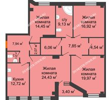 4 комнатная квартира 130,45 м² в ЖК Дом на Провиантской, дом № 12 - планировка
