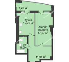 1 комнатная квартира 54,68 м² в ЖК Тихий Дон, дом № 2 - планировка