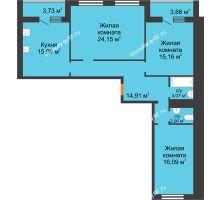 3 комнатная квартира 97,91 м² в ЖК Новая Самара, дом № 44 - планировка