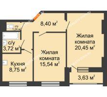 2 комнатная квартира 59,92 м², Жилой дом: ул. Сухопутная - планировка