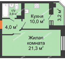 1 комнатная квартира 41,2 м² в ЖК Вересаево, дом Литер 6/2 - планировка