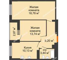 2 комнатная квартира 55,73 м², ЖК Орбита - планировка
