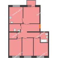 4 комнатная квартира 88,5 м² в ЖК Живём, дом квартал 10, дом № 1 - планировка