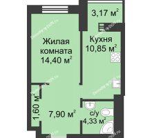 1 комнатная квартира 42,25 м², ЖК Петровская Крепость - планировка