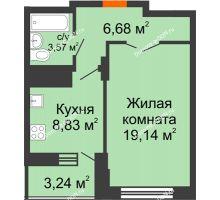 1 комнатная квартира 39,84 м² в ЖК Встреча, дом № 1 - планировка