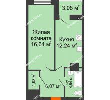 1 комнатная квартира 44,65 м², ЖК Штахановского - планировка