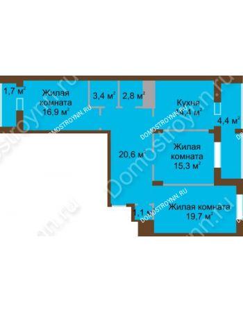 3 комнатная квартира 100,3 м² в ЖК Монолит, дом № 89, корп. 1, 2