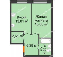 1 комнатная квартира 41,35 м² в ЖК Подкова на Гагарина, дом № 2