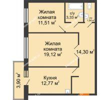 2 комнатная квартира 64,04 м² в ЖК Бограда, дом № 2 - планировка
