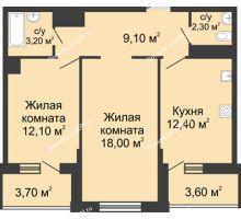 2 комнатная квартира 61,1 м² в ЖК Первый, дом Литер 2 - планировка