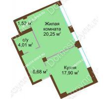 1 комнатная квартира 50,36 м², ЖК Либерти - планировка