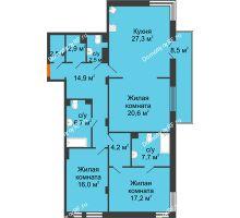 3 комнатная квартира 125,2 м² в Клубный дом Лобачевский, дом № 1 - планировка