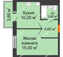 1 комнатная квартира 34,5 м² в ЖК 5 Элемент (Пятый Элемент), дом Корпус 5-4 - планировка