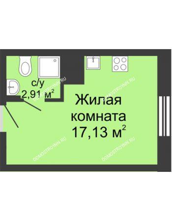 Студия 20,04 м² в ЖК Красная поляна, дом № 6