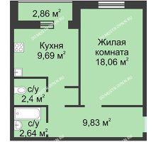 1 комнатная квартира 42,62 м² в ЖК Корабли, дом № 1