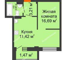 Студия 36,37 м² в ЖК Дом с террасами, дом № 6 - планировка