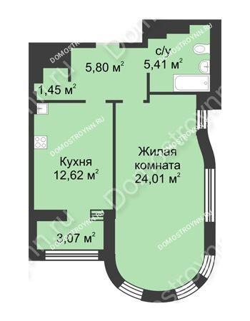 1 комнатная квартира 50,83 м² в ЖК Караваиха, дом № 5