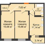2 комнатная квартира 56,46 м² в ЖК Свобода, дом № 1 - планировка