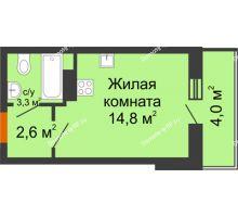 Студия 22,7 м² в ЖК Самолет 2, дом Литер 3 - планировка