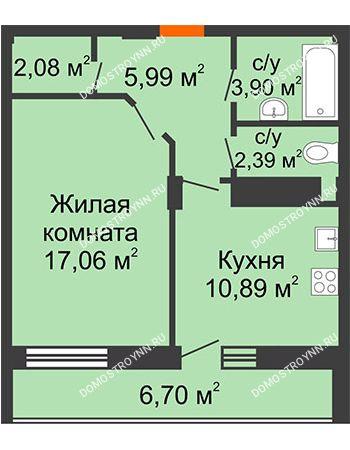 1 комнатная квартира 45,66 м² в ЖК Облака, дом № 2