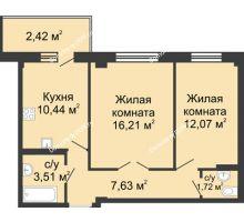 2 комнатная квартира 52,71 м² в ЖК Соловьиная роща, дом № 3 - планировка