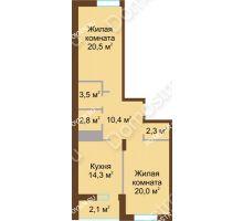 2 комнатная квартира 75,9 м² в ЖК Монолит, дом № 89, корп. 1, 2 - планировка