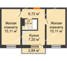 2 комнатная квартира 47,36 м² в ЖК Мончегория, дом № 5 - планировка