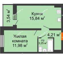 1 комнатная квартира 37,05 м², ЖК Инстеп.Победа - планировка