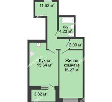 1 комнатная квартира 53,58 м² в ЖК Тихий Дон, дом № 2 - планировка