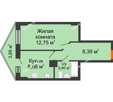 1 комнатная квартира 33,87 м² в ЖК Рубин, дом Литер 3 - планировка