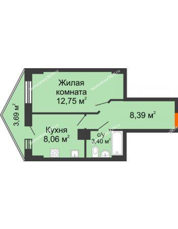 1 комнатная квартира 33,71 м² в ЖК Рубин, дом Литер 2