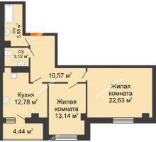 2 комнатная квартира 72,56 м², ЖК Площадь Ленина - планировка