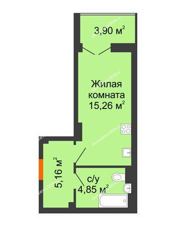 Студия 27,22 м² в ЖК Аврора, дом № 3