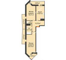 2 комнатная квартира 85,44 м² в ЖК Империал, дом Литер 9 - планировка