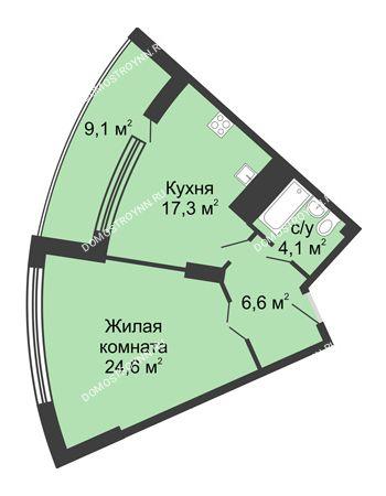 1 комнатная квартира 60,6 м² в ЖК Монолит, дом № 89, корп. 3