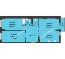 3 комнатная квартира 81,51 м², ЖК Орбита - планировка