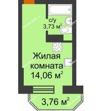 Студия 18,92 м² в ЖК Светлоград, дом Литер 16 - планировка